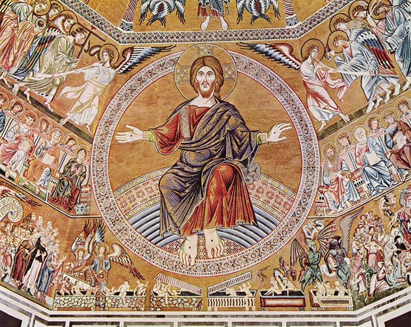 Christ. Mosaïque du Baptistère Saint-Jean, Florence, vers 1300. Photographie par The Yorck Project.