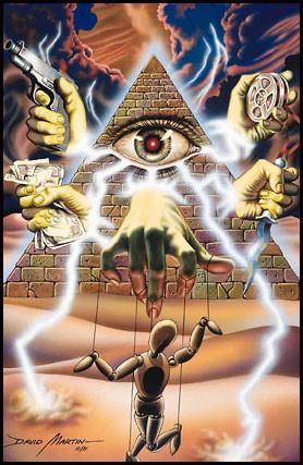 Complot judéo-maçonnique, illusion élitiste et fantasmes délétères Illustration pour le jeu Illuminati, The games of conspiration, par David Martin, Steve Jackson Games (SJG), 1983.
