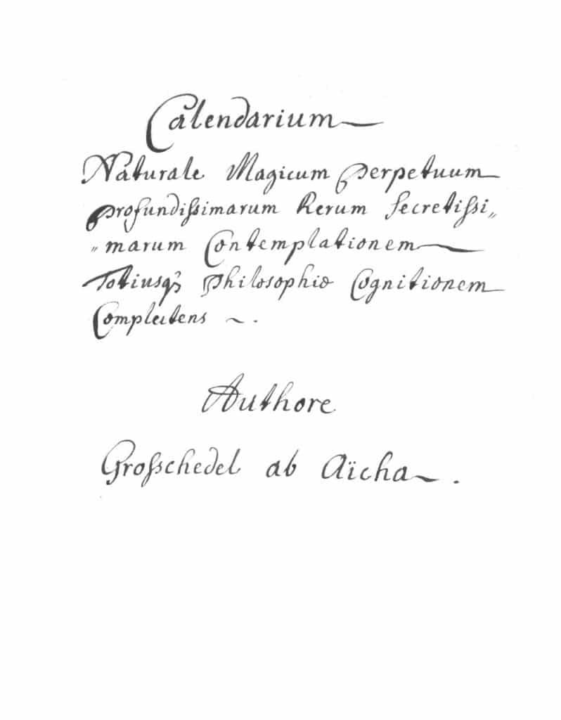 Grosschedel ab Aicha Calendarium naturale magicum grosschedel